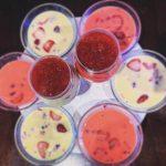 Jelly with fruits and Greek yogurt. Dessert recipe.